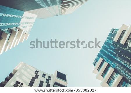 Three Futruristic buildings - stock photo