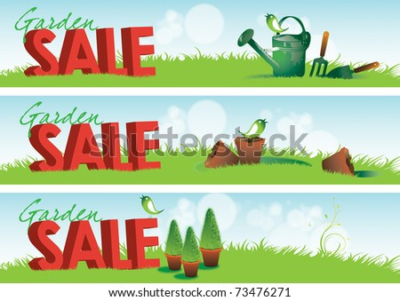 Three garden themed horizontal banners with 3d rendered type spelling the word sale set in green grass with various garden tools and broken terracotta pots. - stock photo