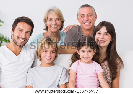 Three generation family portrait - stock photo