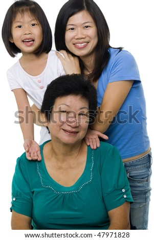 Three generations. Asian family, grandmother, mother and granddaughter. - stock photo