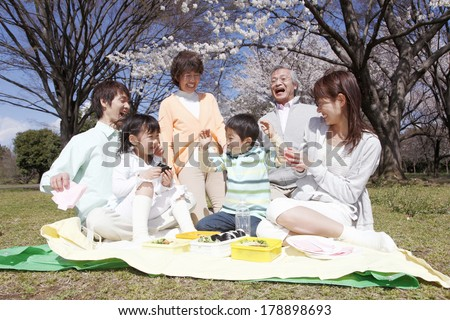 Three generations of a Japanese family having a lunch in a park  - stock photo