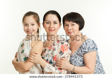 three generations of women. grandmother, mother and daughter - stock photo