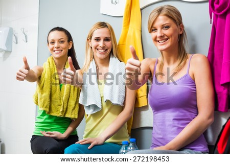 Three girls are ready for fitness training - stock photo