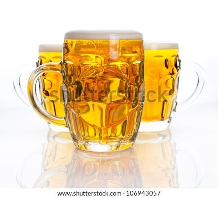 Three glasses of beer - stock photo
