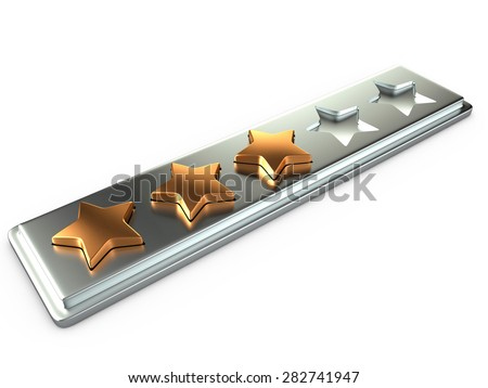 Three gold stars for ranking, 3D - stock photo