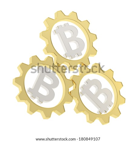 Three golden cogwheel gears with a silver bitcoin peer-to-peer crypto currency signs inside composition isolated over white background - stock photo