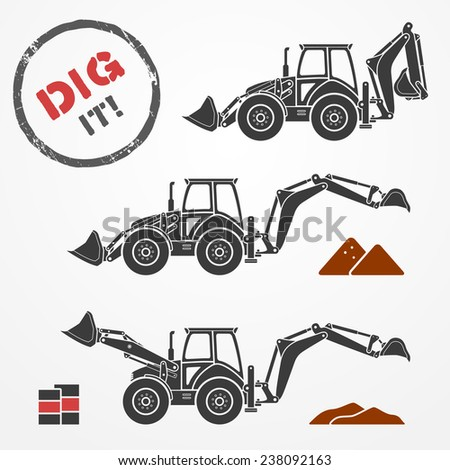Three gray excavator silhouettes with dirt and barrels - stock photo