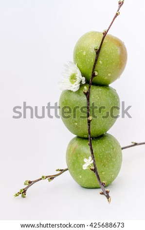 three green apples with white flower on white background - stock photo