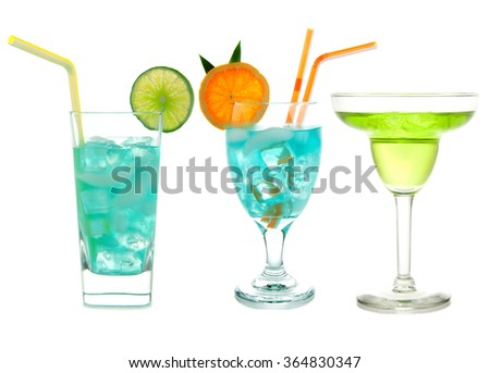 Three green cocktails Blue Hawaiian Cosmopolitan Mojito tropical cocktail drinks with alcohol vodka in martini glasses isolated on a white background - stock photo