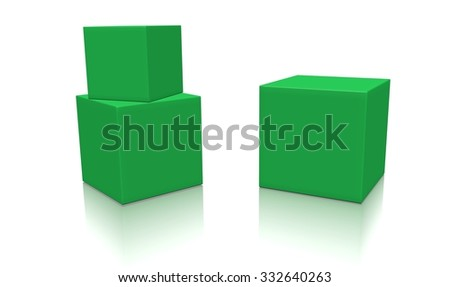Three green 3d blank concept boxes with shadows isolated on white background. Rendered illustration. - stock photo