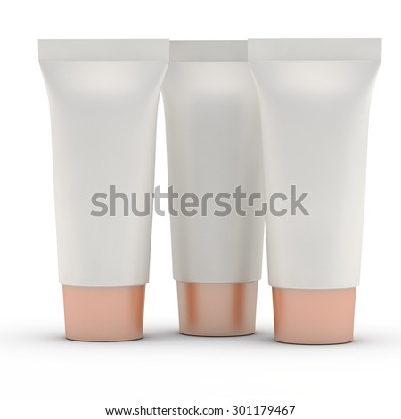 three grey tubes for toothpaste or cream with a blank space for a label - stock photo