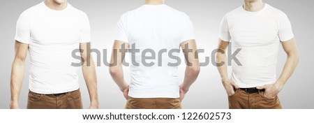 three guy in T-shirt on a white background - stock photo