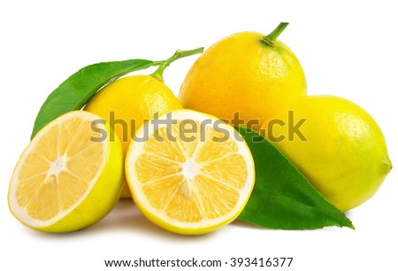 three half lemons and whole on a white background - stock photo