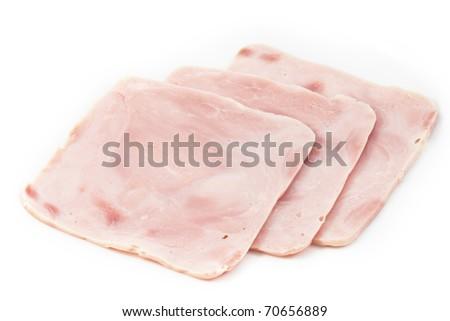 Three Hams in white plate - stock photo