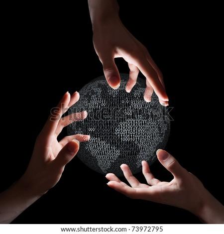 Three hand holding digital earth. - stock photo