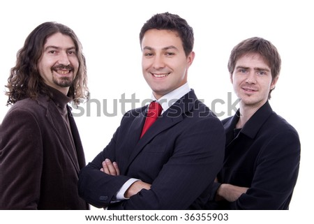 three happy business men together as a team - stock photo