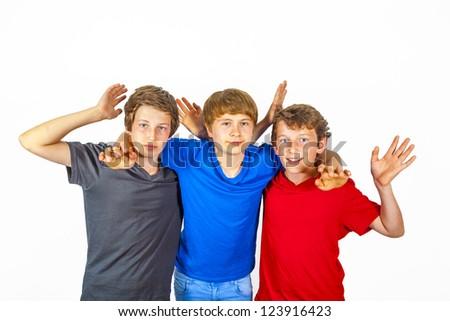 three happy joyful friends enjoy life - stock photo