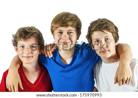 three happy joyful friends enjoy life - stock photo