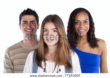 Three happy teenagers isolated on white - stock photo