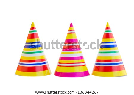 three hats for birthday party isolated on white background - stock photo