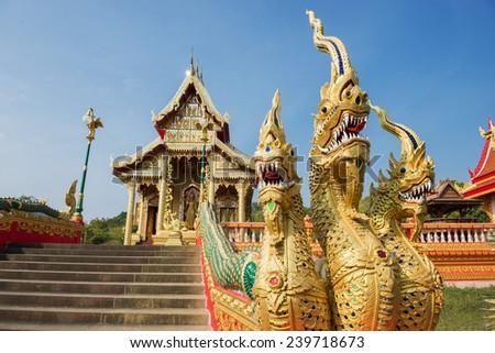 three heads Naga statue at temple ,Thailand - stock photo