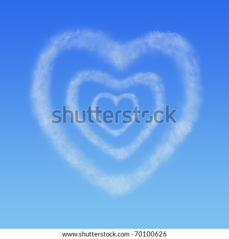 three hearts from clouds in the blue sky - stock photo