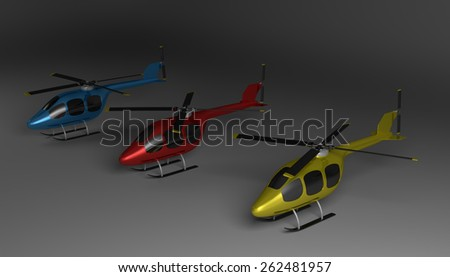 Three helicopters of various colors with black tinted windows on gray squared background, perspective view - stock photo