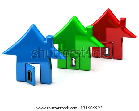 Three home together, 3d icon - stock photo