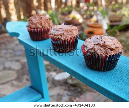 Three homemade chocolate cupcakes in 4th of July wrappers on the arm of an adirondack chair in the garden. - stock photo
