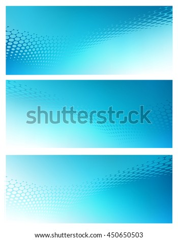 Three Horizontal High Resolution Abstract soft blue graphic design background templates for Healthcare,Finance and various communication arts. Plenty of space for text. - stock photo