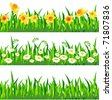 Three horizontal seamless patterns with grass and flowers - stock photo