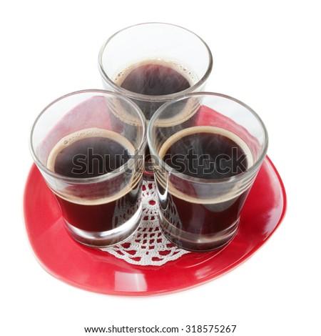three hot espressos isolated on white background - stock photo