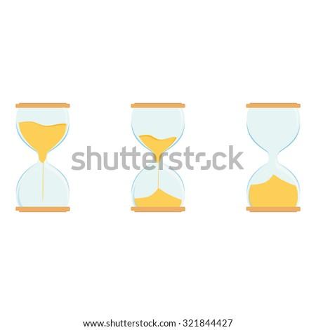 Three hourglass raster icon set. Sand watch. Sand glass. Empty, full hourglass - stock photo