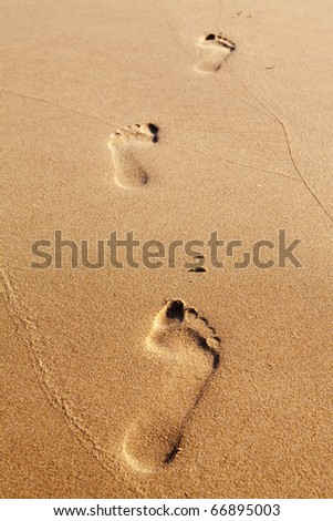 Three human footprints on the beach sand leading away from the viewer - stock photo