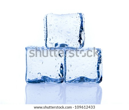 Three ice cubes isolated on white with a reflection - stock photo