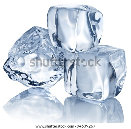 Three ice cubes on white background. - stock photo