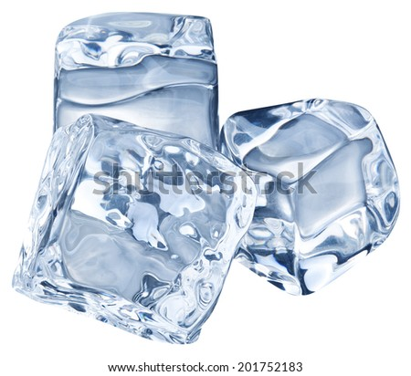 Three ice cubes on white background. Clipping pats. - stock photo