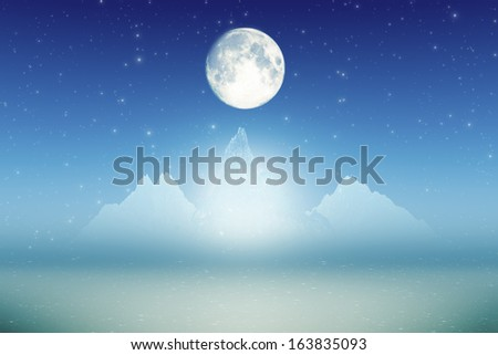 three ice mountains with inner glow and moon - stock photo