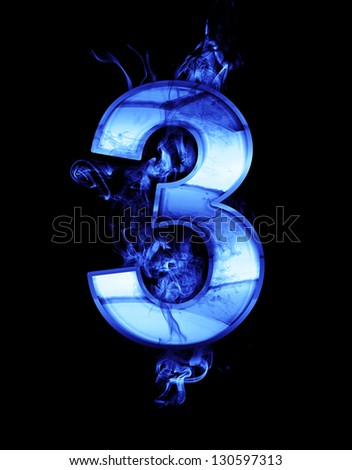three, illustration of  number with chrome effects and blue fire on black background - stock photo