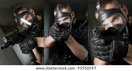 Three images of armed young soldier in gas mask holding weapons - stock photo