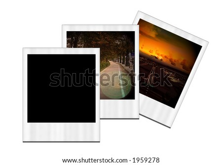 Three instant photo images on white background. - stock photo