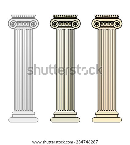 Three Ionic Columns - Raster Version - stock photo