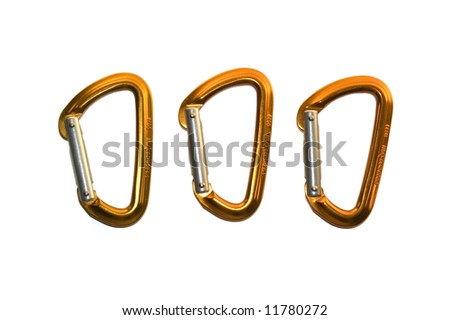 Three isolated orange and silver karabiners/carabiners on white background - stock photo