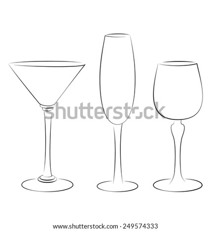 Three isolated outline glass for alcohol drinks - stock photo