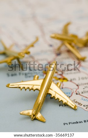 Three Jets Over California. Map is Copyright and Trademark Free, Downloaded off www.nationalatlas.gov - stock photo