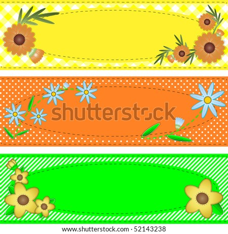 Three jpg oval copy space designs in yellow, orange and green trimmed with flowers, stripes, polka dots, gingham, containing quilting stitch accents. - stock photo