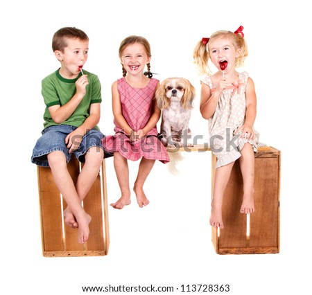 Three kids sitting and a dog on a bench eating lolli pops, isolated on white - stock photo