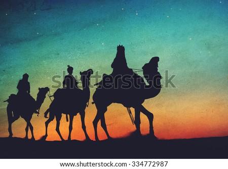 Three Kings Desert Star of Bethlehem Nativity Concept - stock photo