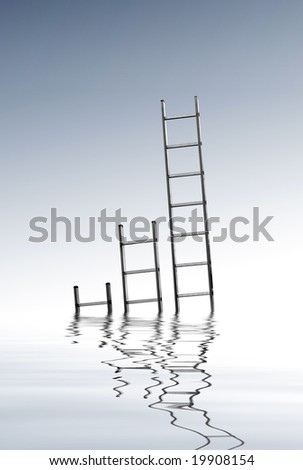 three ladders growing out ouf water - stock photo