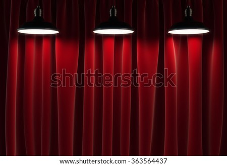three lamps and red curtains, 3d render - stock photo